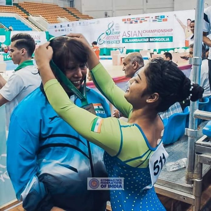 Coach Minara Begum (left) has been the mainstay behind Pranati Nayak's success and qualification to the Tokyo Olympics as the lone Indian gymnast. Photo credit: SportSavour
