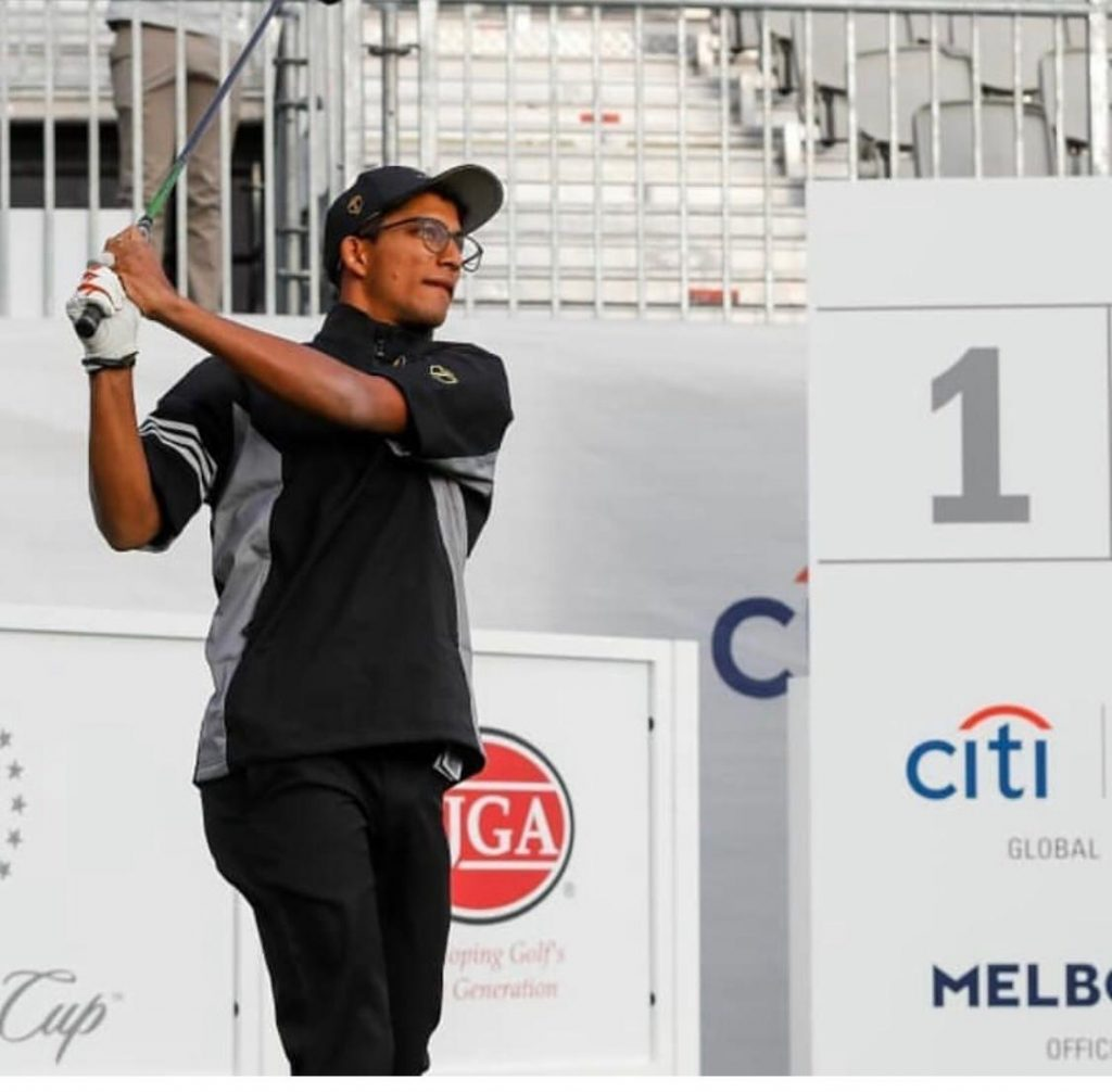 Kartik Sharma in action during the 2019 Junior Presidents Cup at the Royal Melbourne Golf Club.