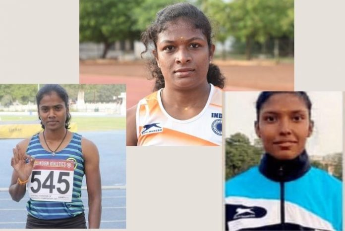 Revathi V (top), Subha Venkataraman (right) and Dhanalakshmi S, members of the Tokyo bound women's 4x400m relay team, are bound by their ability to turn adversity into opportunity.