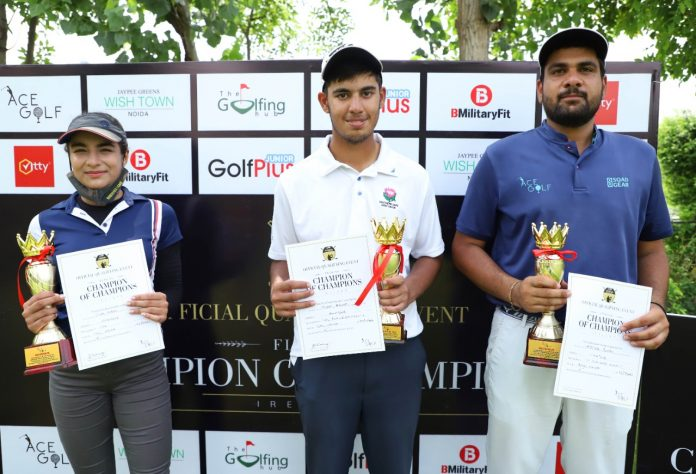 Aditya Punia (extreme right) created a landmark by notching his first amateur win outside his home course Rambagh Golf Club. With a level-par score of 67, Aditya won the amateur section of the Official Qualifying Event of the Flogas Champion of Champions Ireland 2022 at Jaypee Wish Town on Thursday. The even was organised by Ace Golf. Thegolfinghub photos by Virendra Singh Gosain.