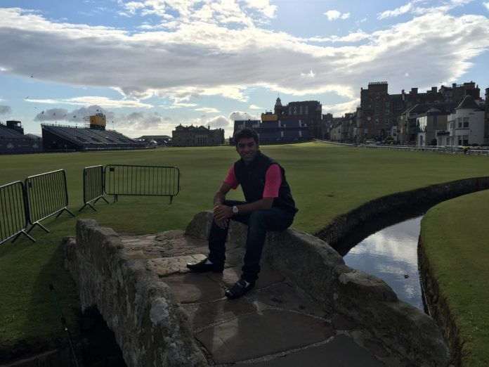Kurush Heerjee at the Old Course in St Andrews, the venue of next year's 150th Open Championship. For the past three months, Kurush has been tweeting daily to catch John Daly's attention and join him for a drink at The Open.