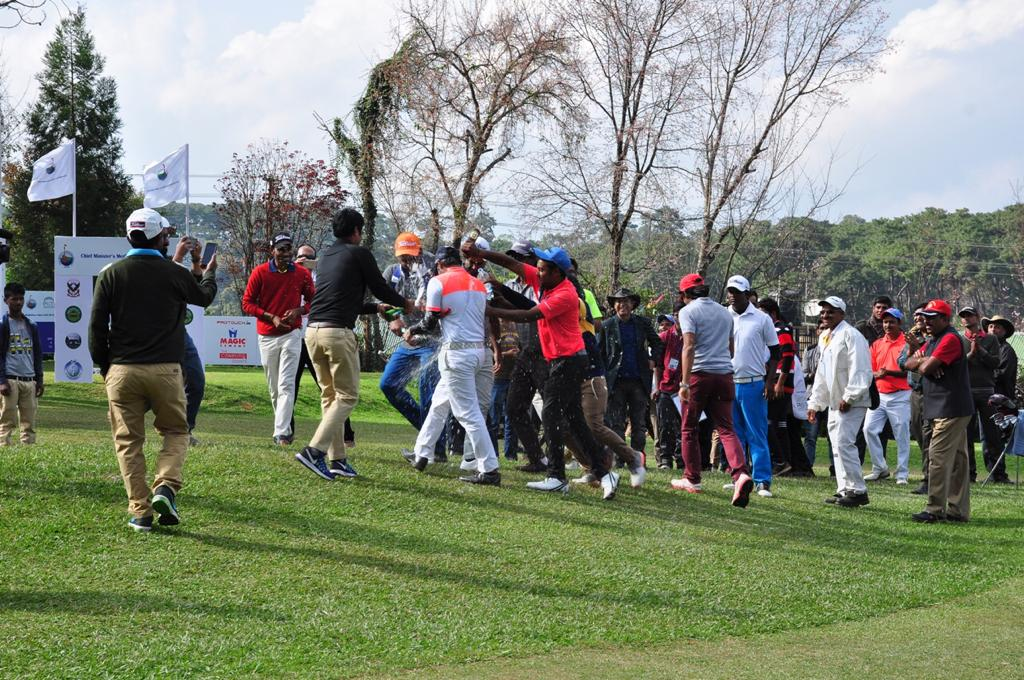 Celebrations on the 18th green of the Shillong Golf Club after Honey Baisoya won the Chief Minister's Meghalaya Cup to announce his arrival on PGTI.